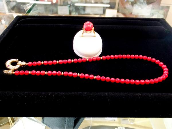 18金 YG 赤珊瑚 リング ネックレスセット