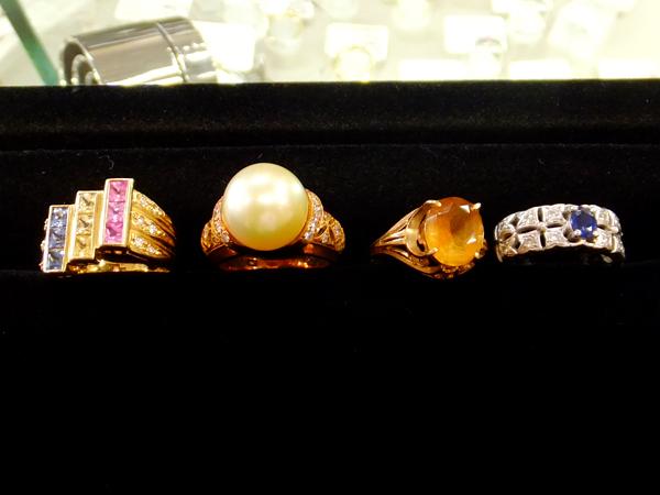 18金 YG プラチナ900 ゴールデンパール ダイヤモンド サファイヤ 色つき石 リング
