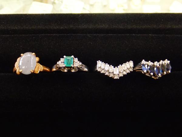 14金 YG プラチナ900 ダイヤモンド サファイヤ エメラルド リング