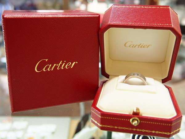 Cartier 18金 ホワイトゴールド ハーフダイヤ ラブリング