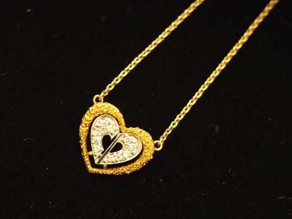 Dior ハート ダイヤモンド ネックレス K18YG/WG