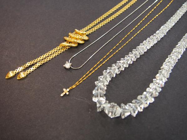 ダイヤモンド  水晶  K18  ネックレス