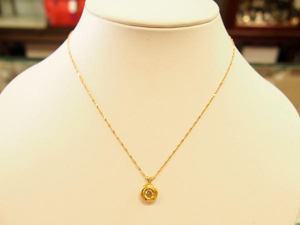 18金 YG ダイヤモンド ネックレス