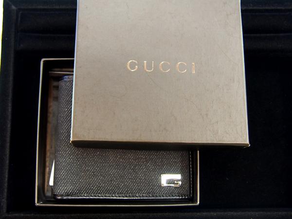 GUCCI キャンバス地×レザー 二つ折り財布