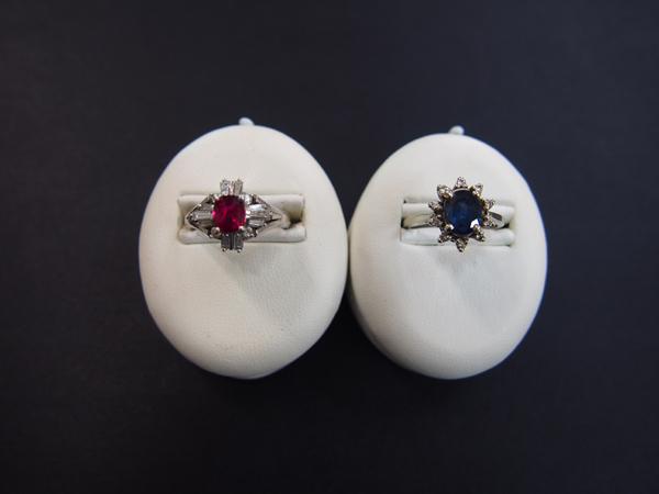 プラチナ900 14金  ルビー  ダイヤモンド   サファイア  リング