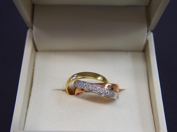 K18PG YG WG ダイヤモンド 指輪