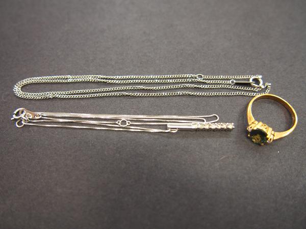 Pt850 K18 ダイヤモンド 色石 ネックレス 指輪