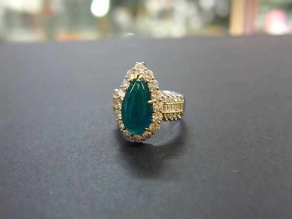 PT900 K18 ダイヤモンド エメラルド 指輪