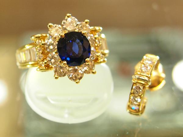 Cartier  サファイア&ダイヤモンドリング  Cartier ダイヤモンドピアス