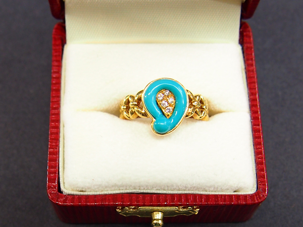 LES ESSENTIELLES K18 ダイヤ トルコ石 指輪
