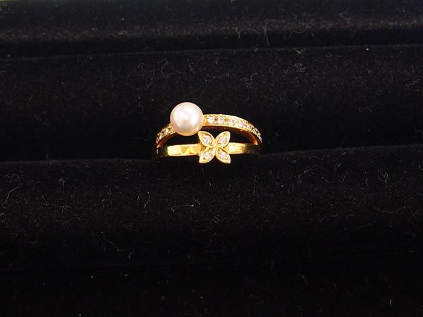 MIKIMOTO K18 YG 真珠/ダイヤ 指輪