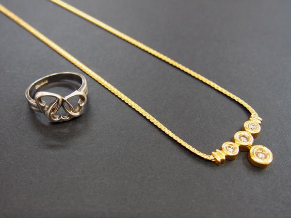 Tiffany SV 指輪 蝶 バタフライモチーフ K18 ダイヤ ネックレス 2点