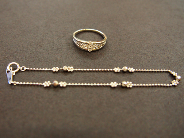 PT900 ダイヤ K18 WG 指輪 ブレスレット