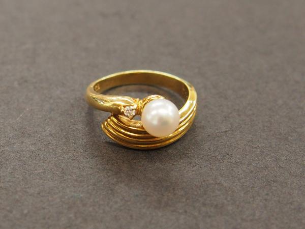 K18YG 真珠 ダイヤモンド 指輪