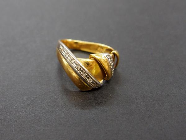 K18 PT900 ダイヤ 指輪