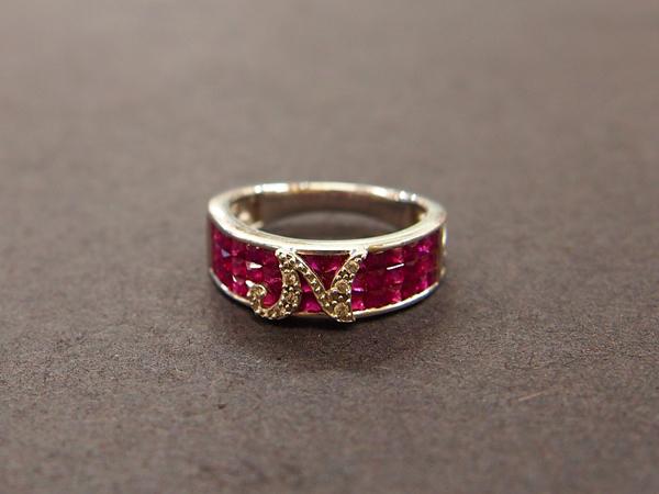 K18WG ルビー ダイヤ 指輪