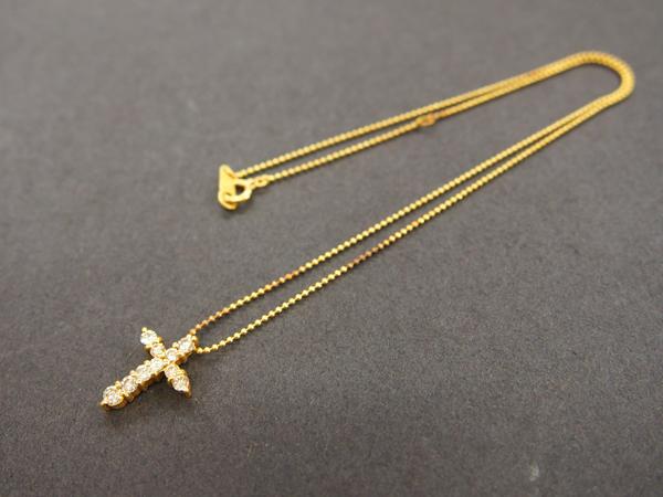 K18 ダイヤ クロス ネックレス