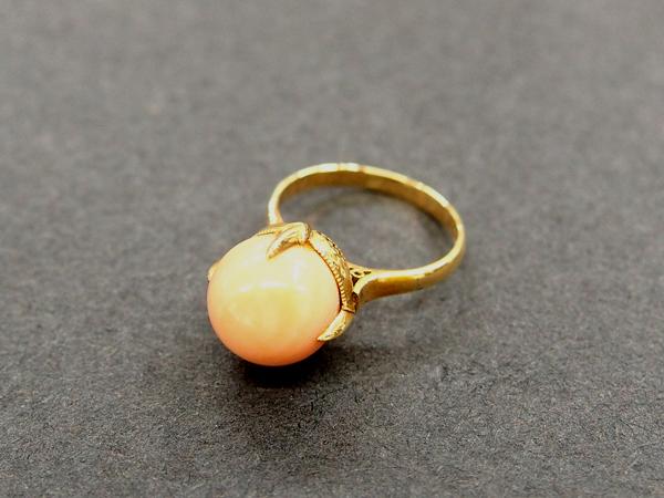 K18 YG 珊瑚 指輪