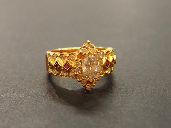 K18 YG ダイヤ 指輪