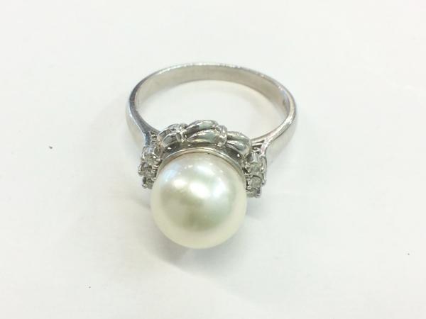 PT900 真珠/ダイヤ 指輪