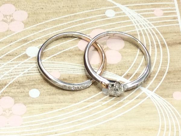 IROHA PT900/K18PGとYG ダイヤ 指輪 2点