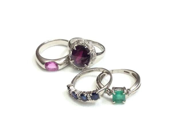 PT900 宝石 指輪 4点