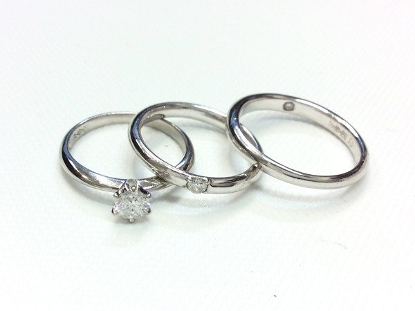 ROYAL ASSCER PT900/950 ダイヤ 指輪 3点