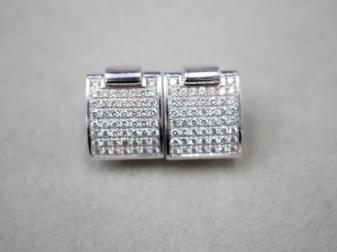 イヤリング K18WG/K14WG 7.4g ダイヤ 0.69ct/0.69ct