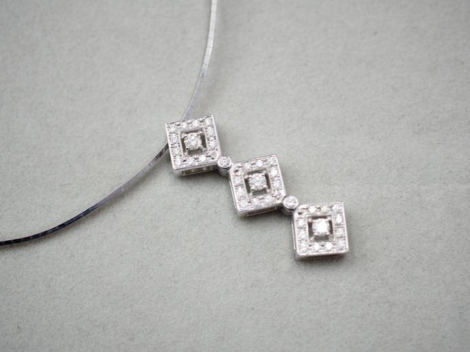 ネックレス K18WG 11.1g ダイヤ 0.50ct