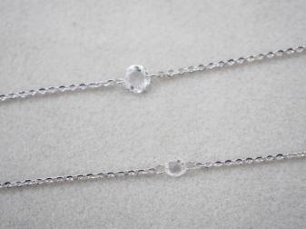 ブレスレット K18WG 1.2g ダイヤ 0.15ct ローズカット