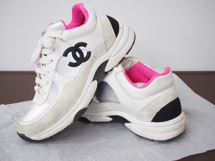 シャネル 靴 ホワイト スウェード