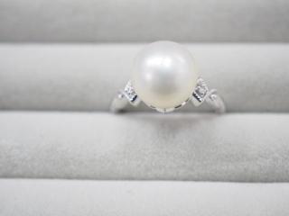 QVC リング K18WG 4.9g 白蝶真珠 10.5mm珠ダイヤ 0.02ct