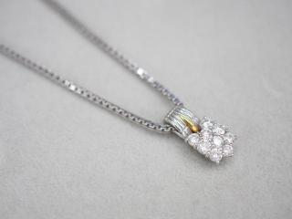 ネックレス Pt900/K18YG 10.9g ダイヤ 0.50ct