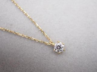 ネックレス K18YG 1.2g ダイヤ 0.145ct H VVS2 3EX