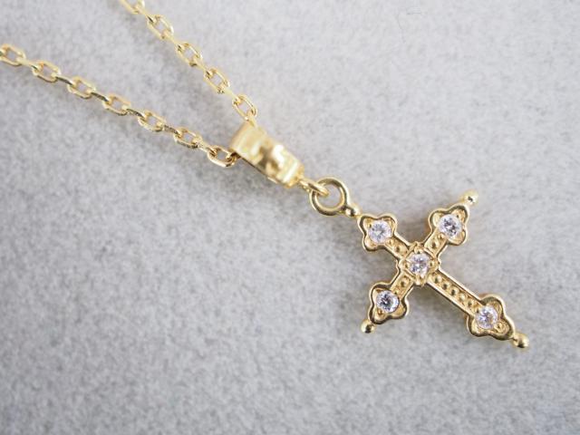 ローリーロドキン ネックレス K18YG 1.9g ダイヤ クロス