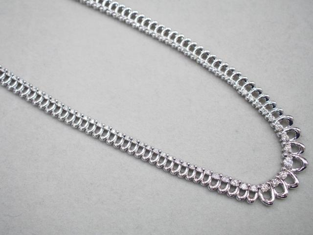 ネックレス K18WG 42.0g ダイヤ 2.173ct