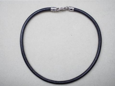 ブルガリ ネックレス レザー/メタル 13.2g チョーカー ブラック