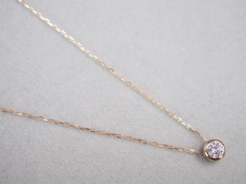 ネックレス K18PG 1.3g ダイヤ