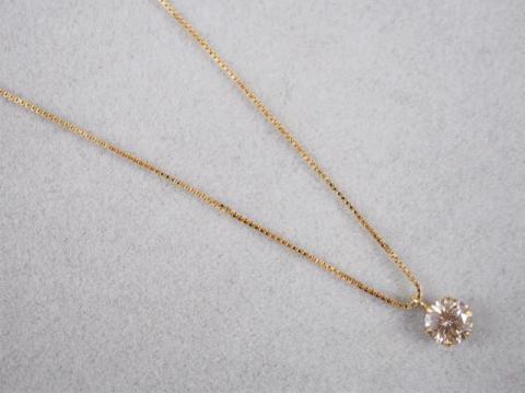 ネックレス K18YG 1.2g ダイヤ 0.3ct LIGHT BROWN SI2 G