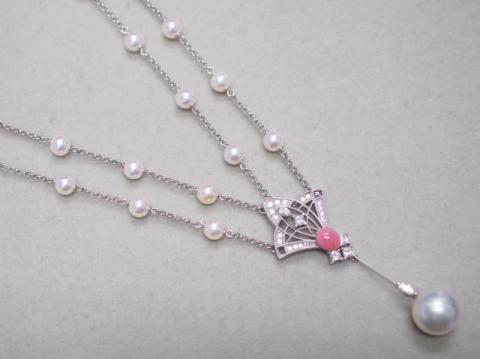 ミキモト ネックレス K18WG/Pt850 23.0g コンクパール 白蝶真珠 アコヤ真珠ダイヤ 0.58ct