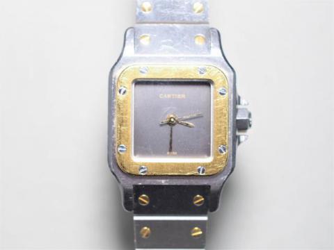 カルティエ 時計 K18/SS サントスガルべ レディース