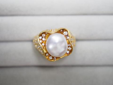 ミキモト リング K18YG 14.6g 白蝶真珠ダイヤ 1.39ct