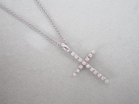 ダミアーニ ネックレス K18WG 4.3g ダイヤ ミステリークロス