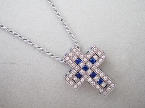 ダミアーニ ネックレス K18WG 8.7g ダイヤ サファイア ベルエポック