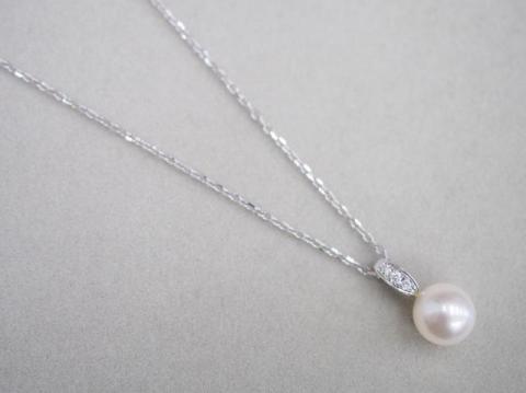 ミキモト ネックレス K18WG 3.2g アコヤ真珠 8.5mm珠 ダイヤ