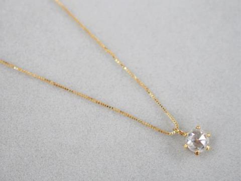 ネックレス K18YG 1.4g ローズカットダイヤ 0.40ct