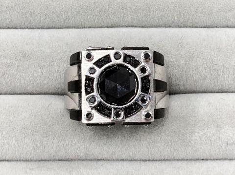 リング K18WG 13.6g ブラックダイヤ 2.453ct/0..18ct