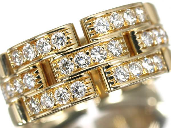 カルティエ パンテール ハーフダイヤモンド K18YG リング 50号 180,000円