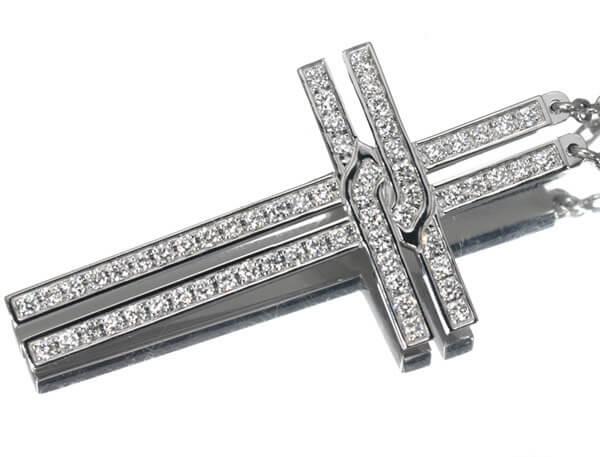 カルティエ ダイヤモンド クロス ネックレス K18WG 150,000円