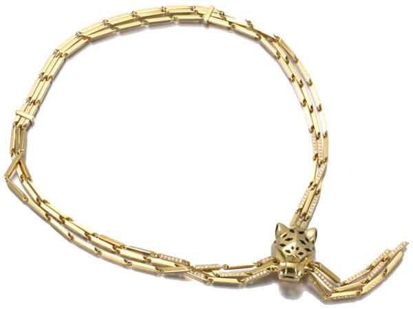 カルティエ ネックレス ダイヤ パンテール K18YG 88g 1,600,000円